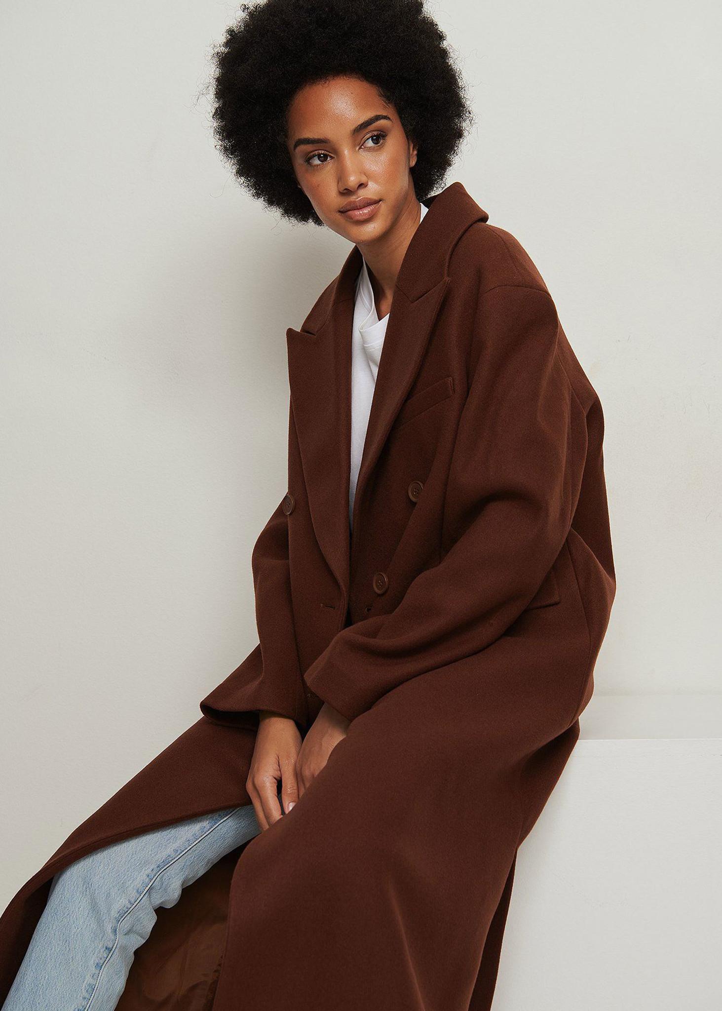 Oversized Side Slit Coat Brown-4