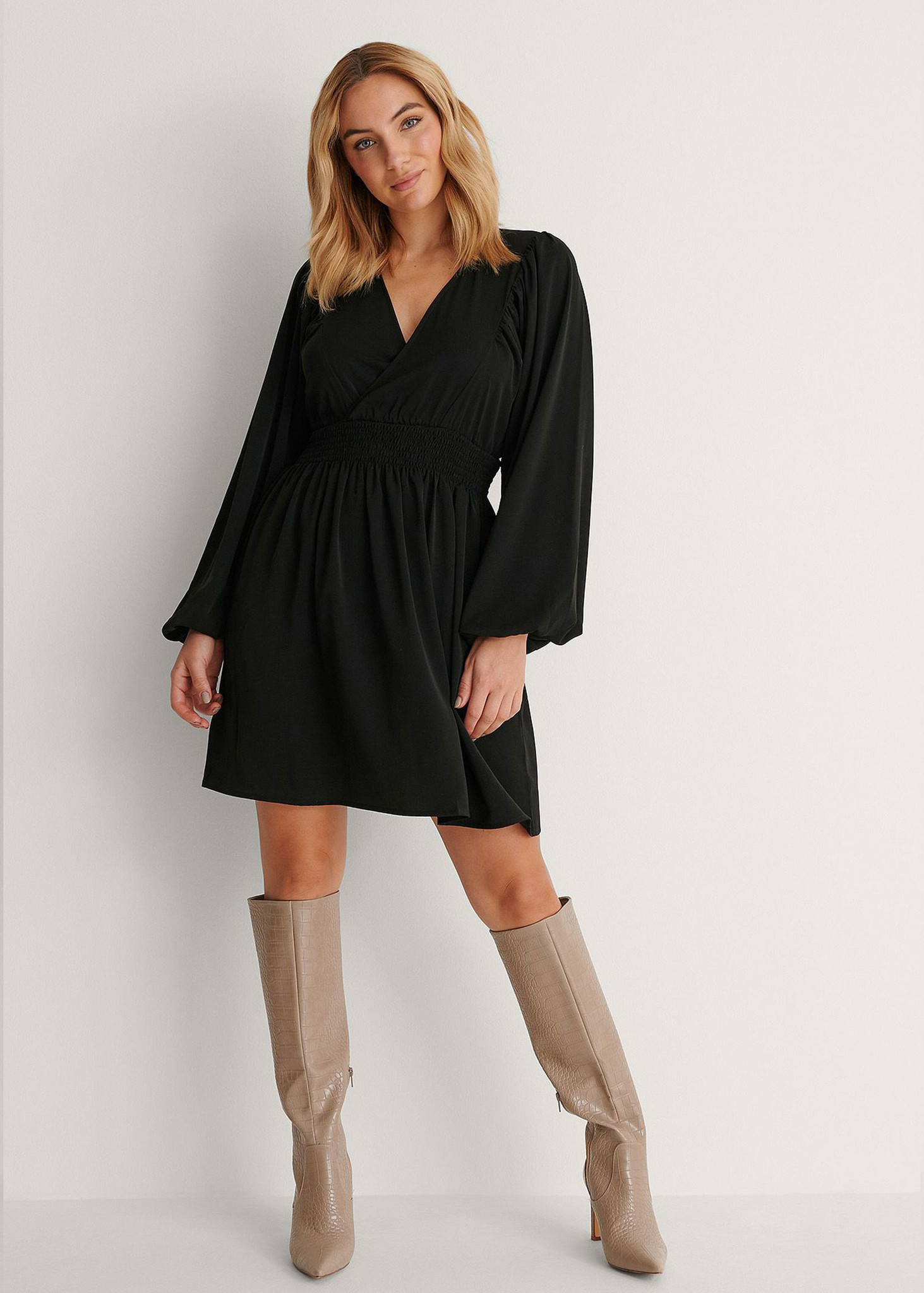 Smocked Waist Mini Dress-1