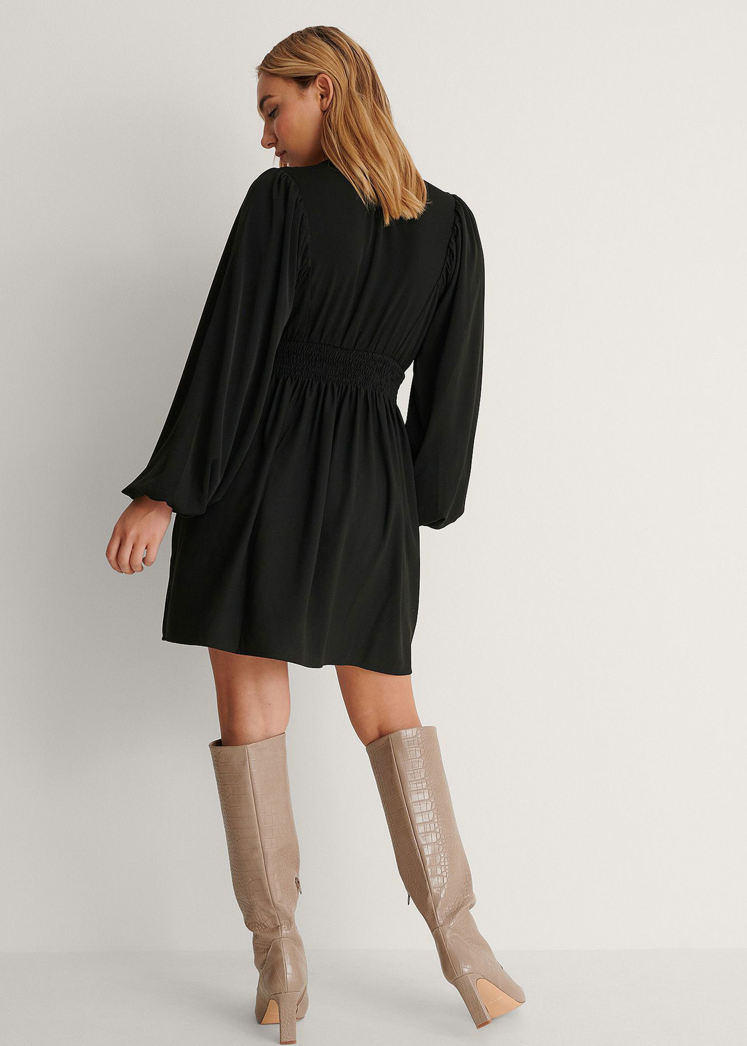 Smocked Waist Mini Dress-2