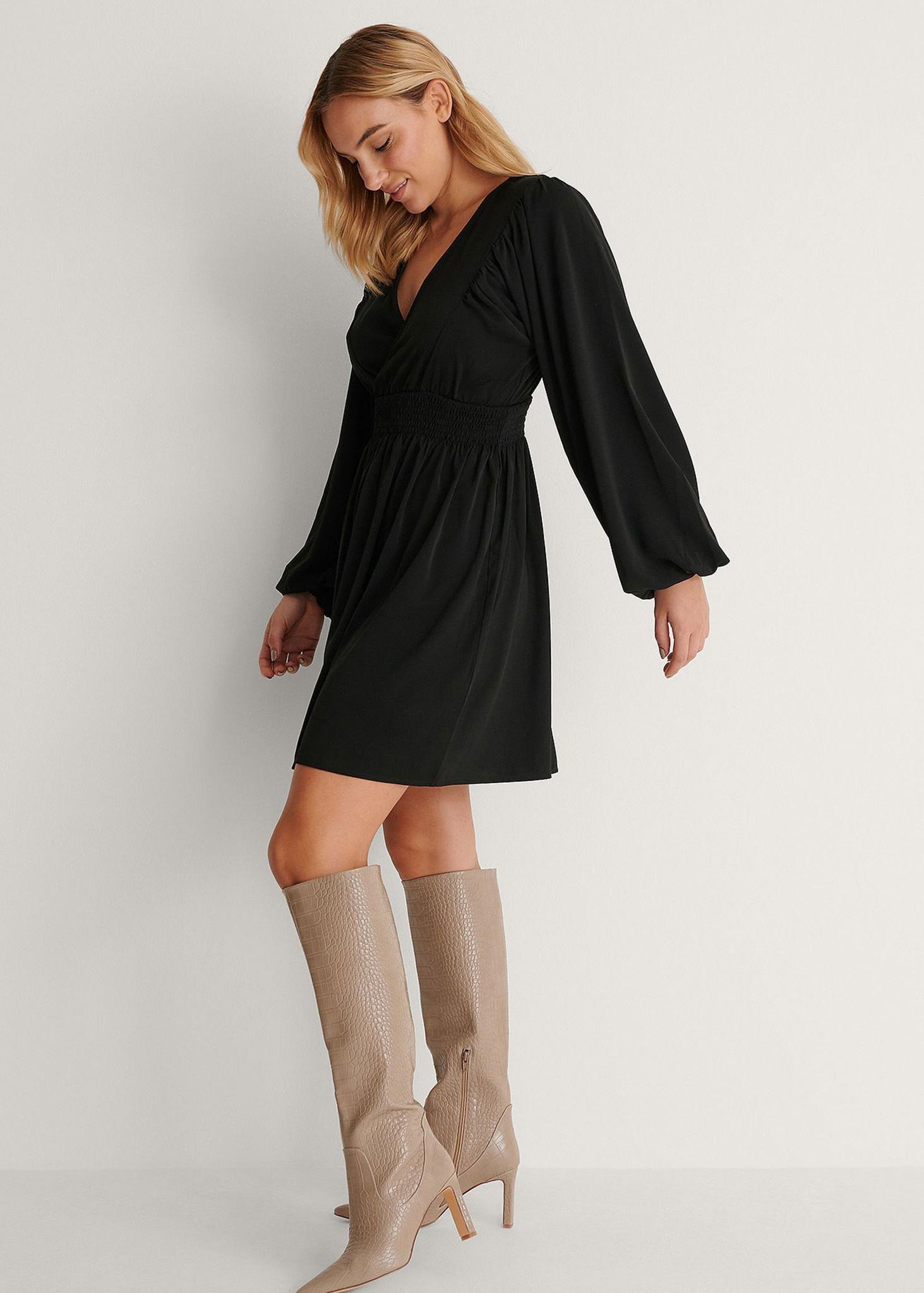 Smocked Waist Mini Dress-3