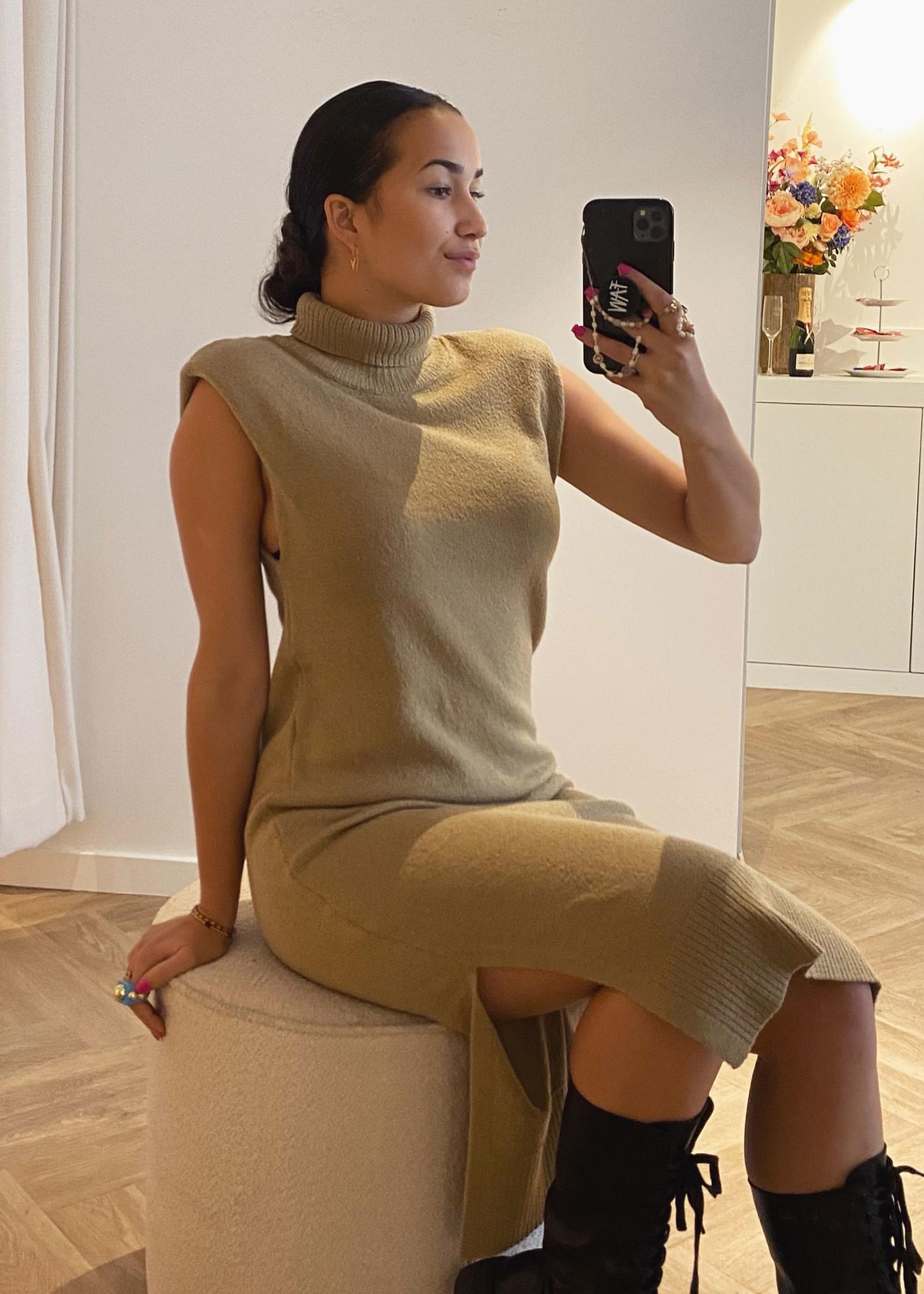 Padded High Neck Midi Dress Khaki-1