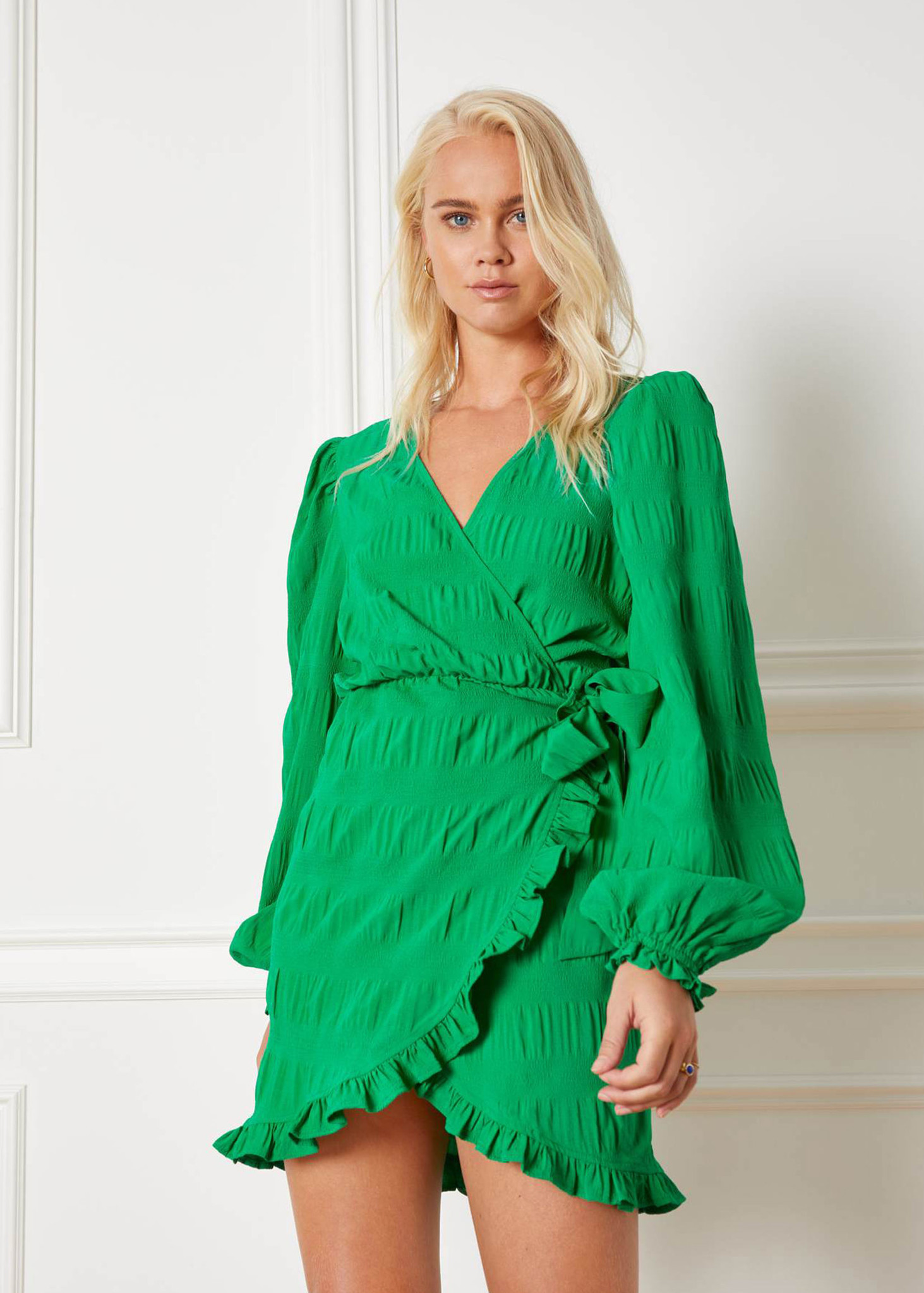 Woven Smock Dress Green-1