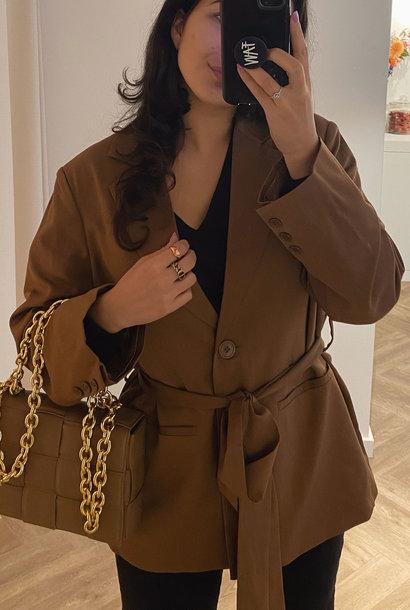Oversized Belted Blazer Brown