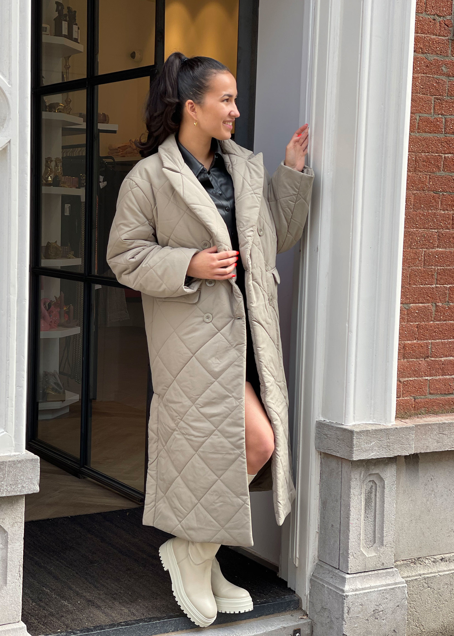 Quilted Coat Khaki-1