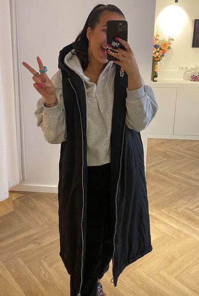 Oversized Hooded Vest Black