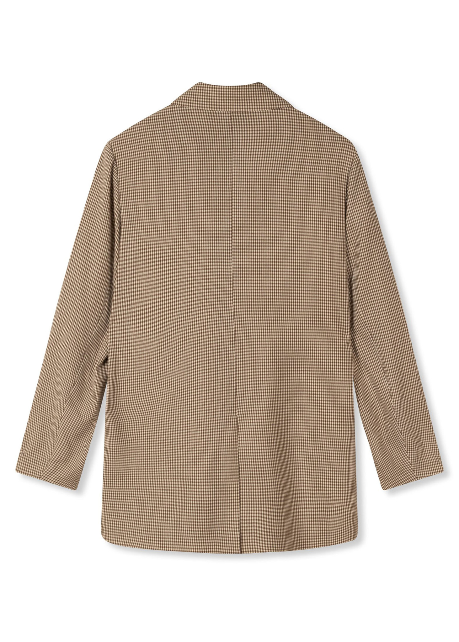 Woven Check Blazer Brown-6