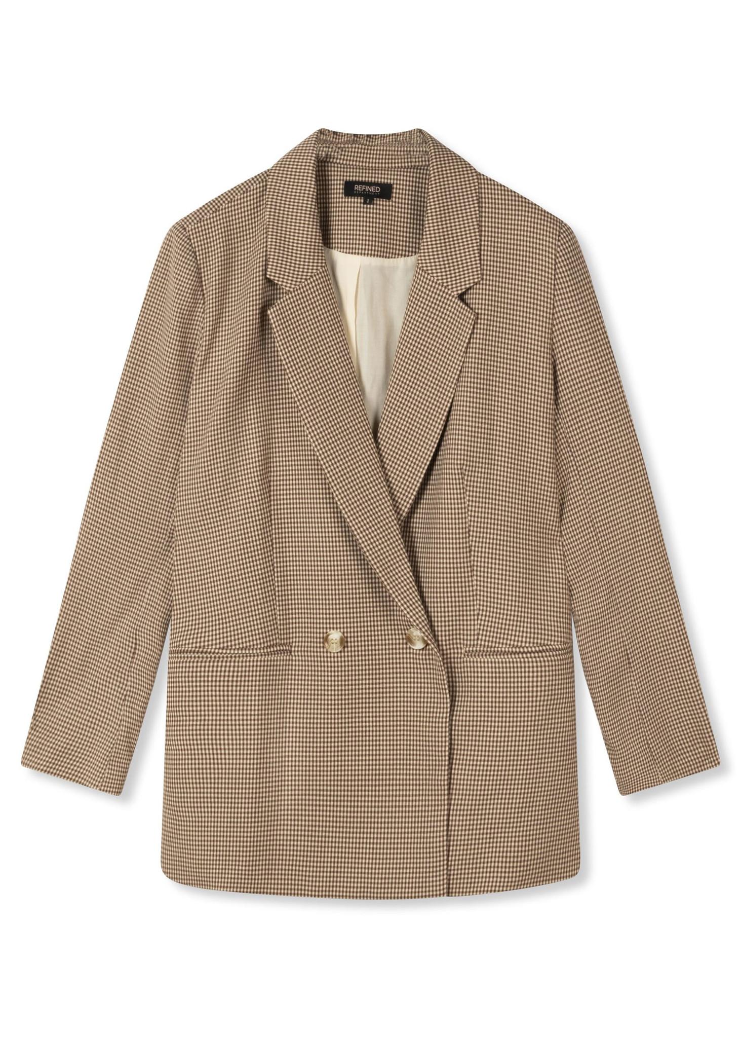 Woven Check Blazer Brown-5