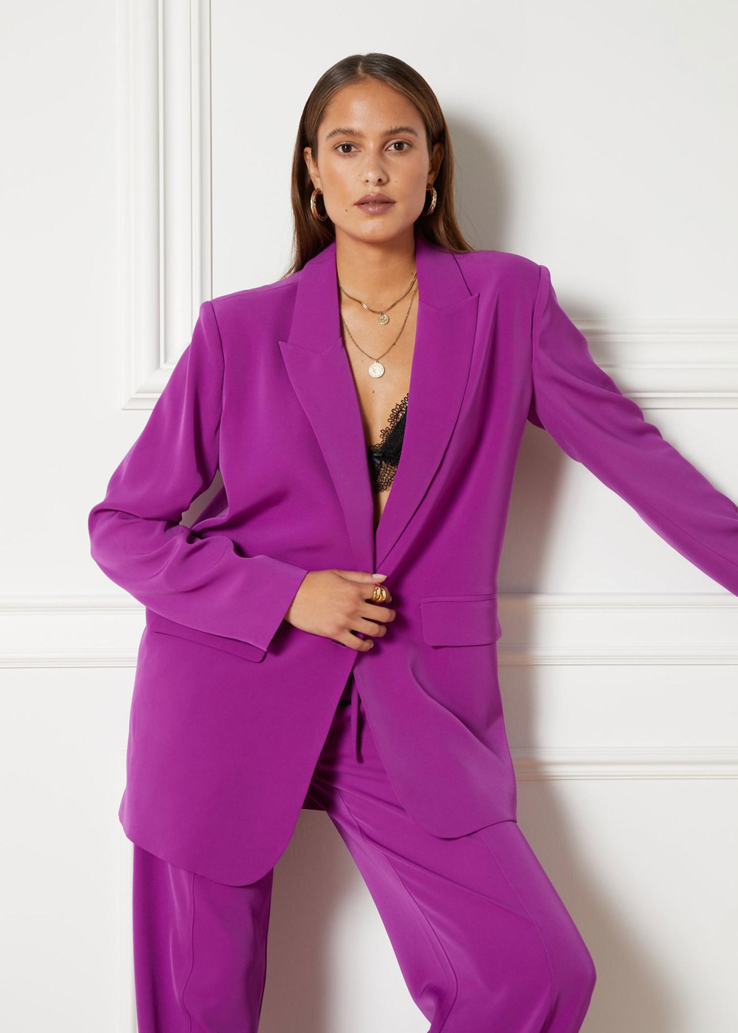 Flowy Suit Blazer Purple-1