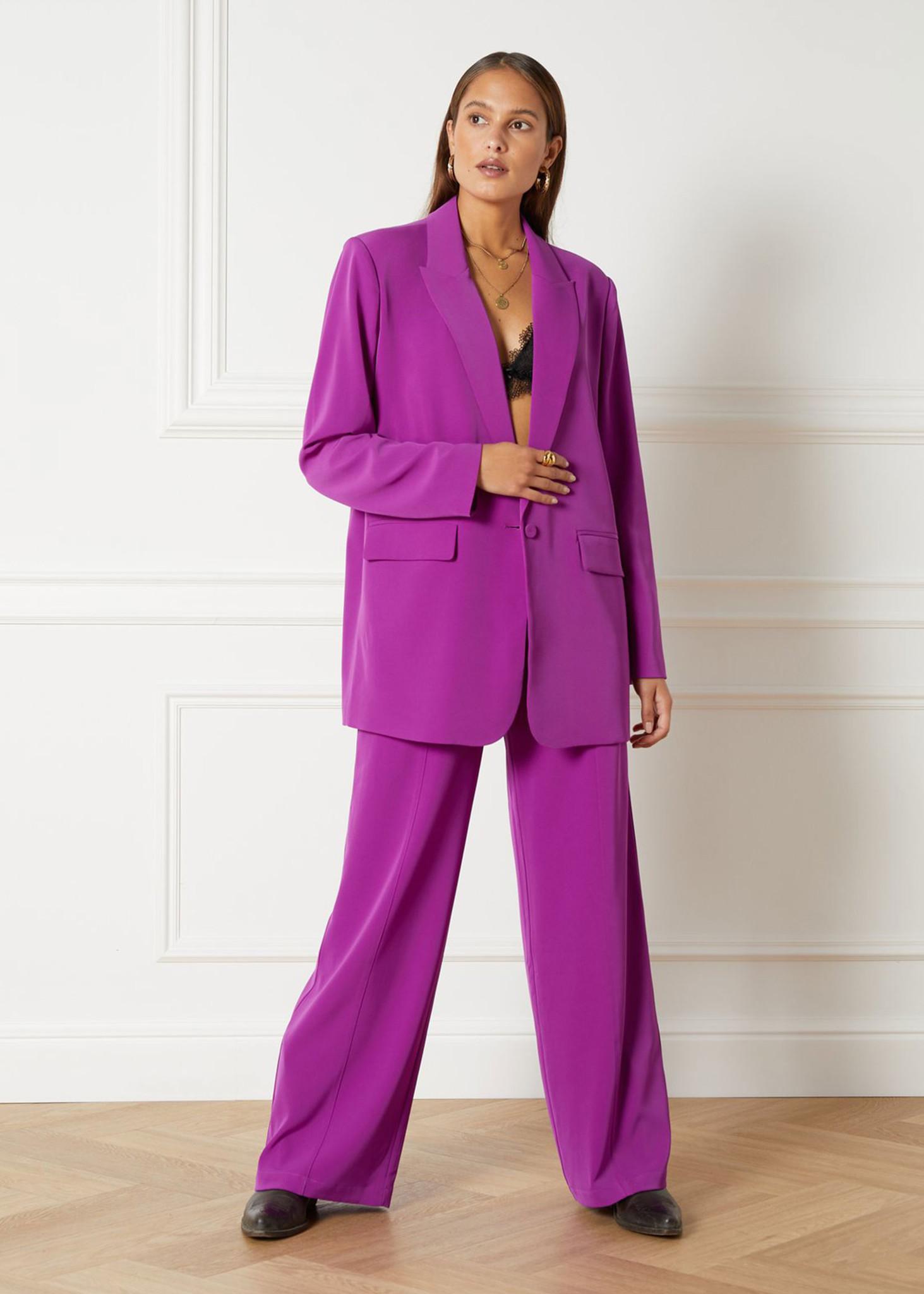 Flowy Suit Blazer Purple-2
