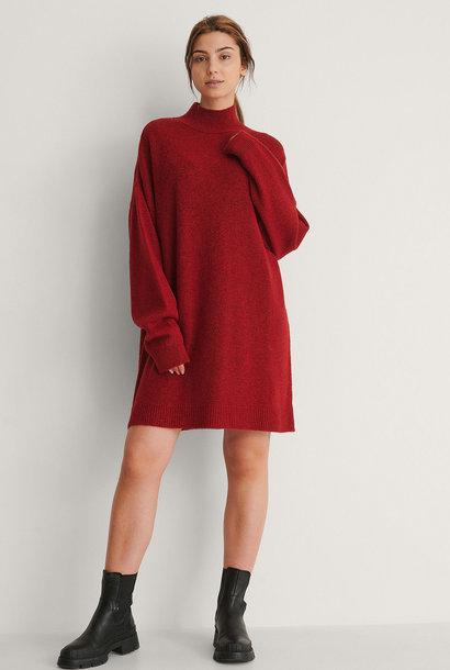 High Neck Mini Dress Bright Red