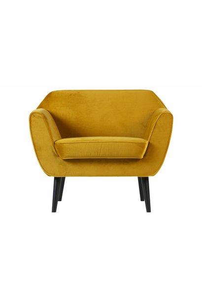 fauteuil fluweel oker geel