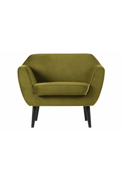 fauteuil fluweel olijf