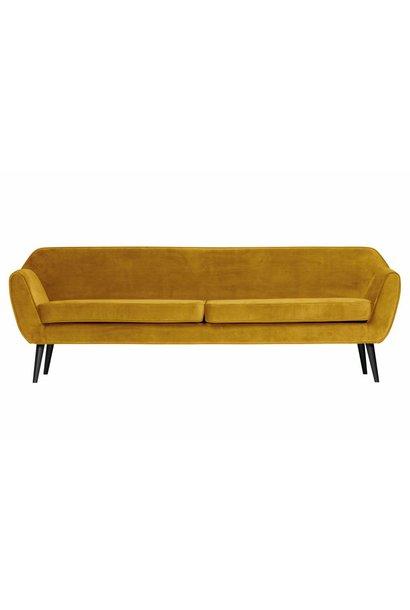 fluweel sofa oker
