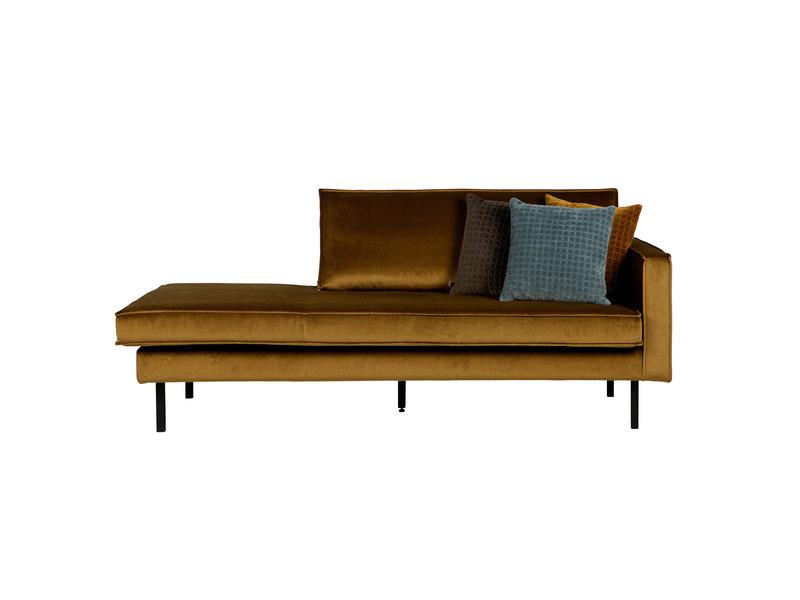 ZENZ Velvet chaise longue rechts honing geel