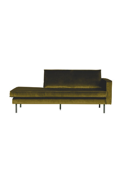 Velvet chaise longue rechts olive