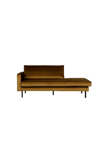 Velvet chaise longue links honing geel