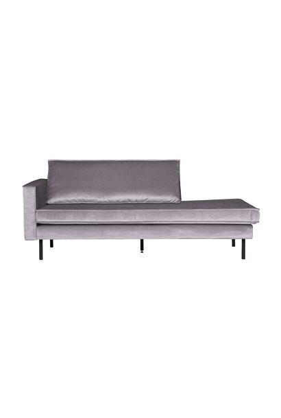 Velvet chaise longue links licht grijs