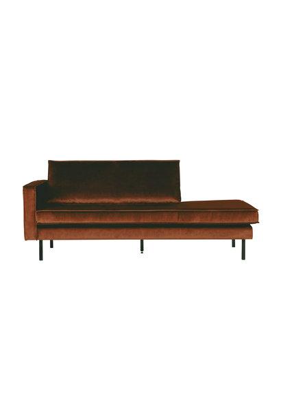 Velvet chaise longue links roest