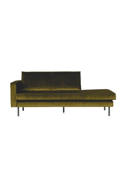 Velvet chaise longue links olive