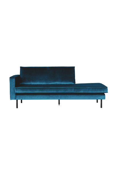 Velvet chaise longue links blue