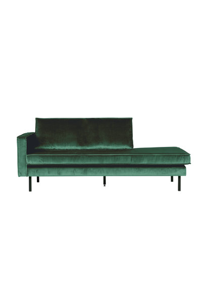 Velvet chaise longue links forest green