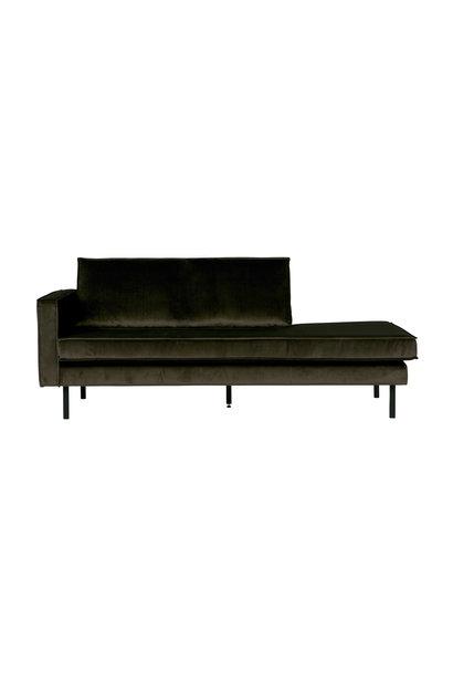 Velvet chaise longue links dark green