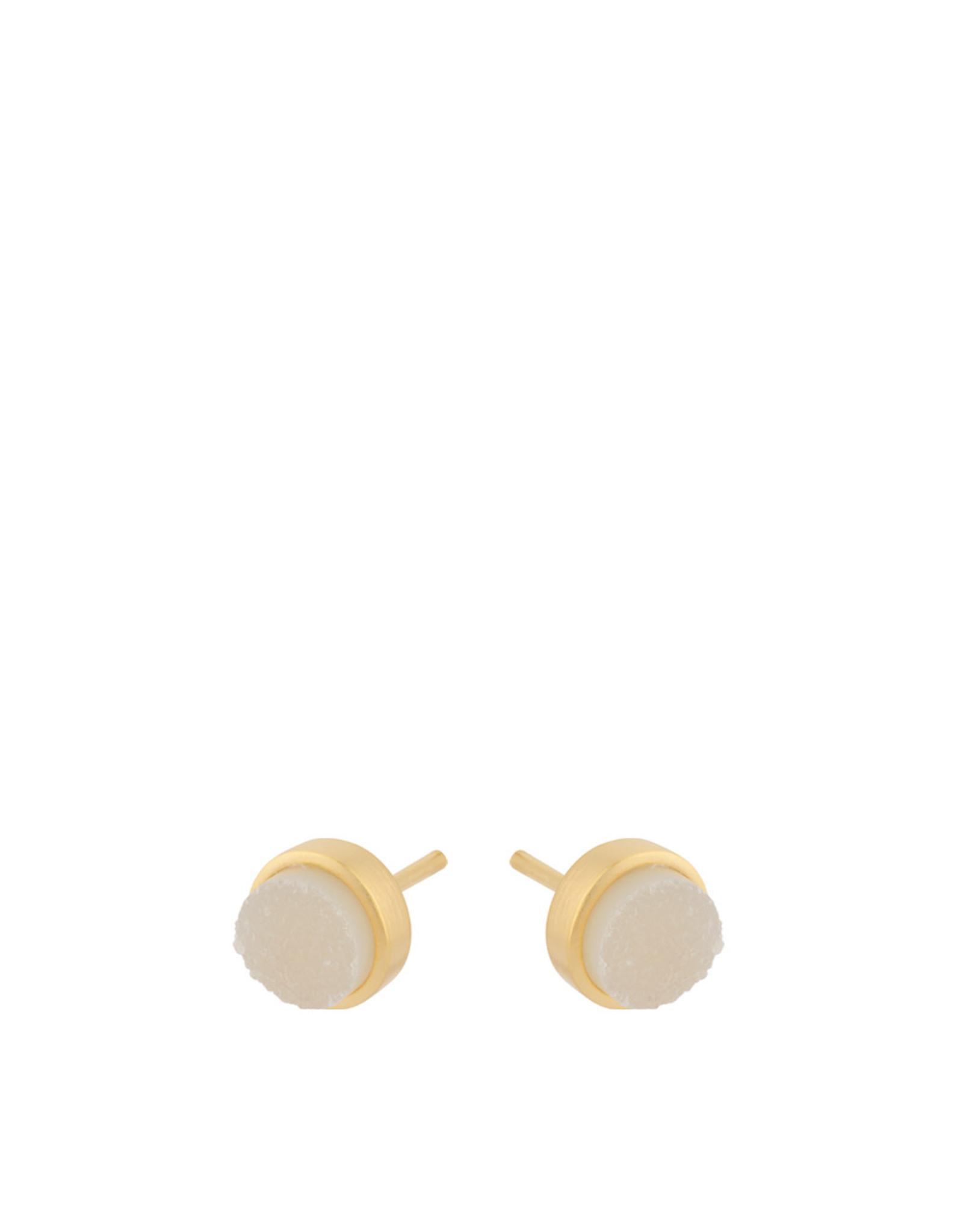 Pernille Corydon Haze Earsticks White Druzy 6 mm