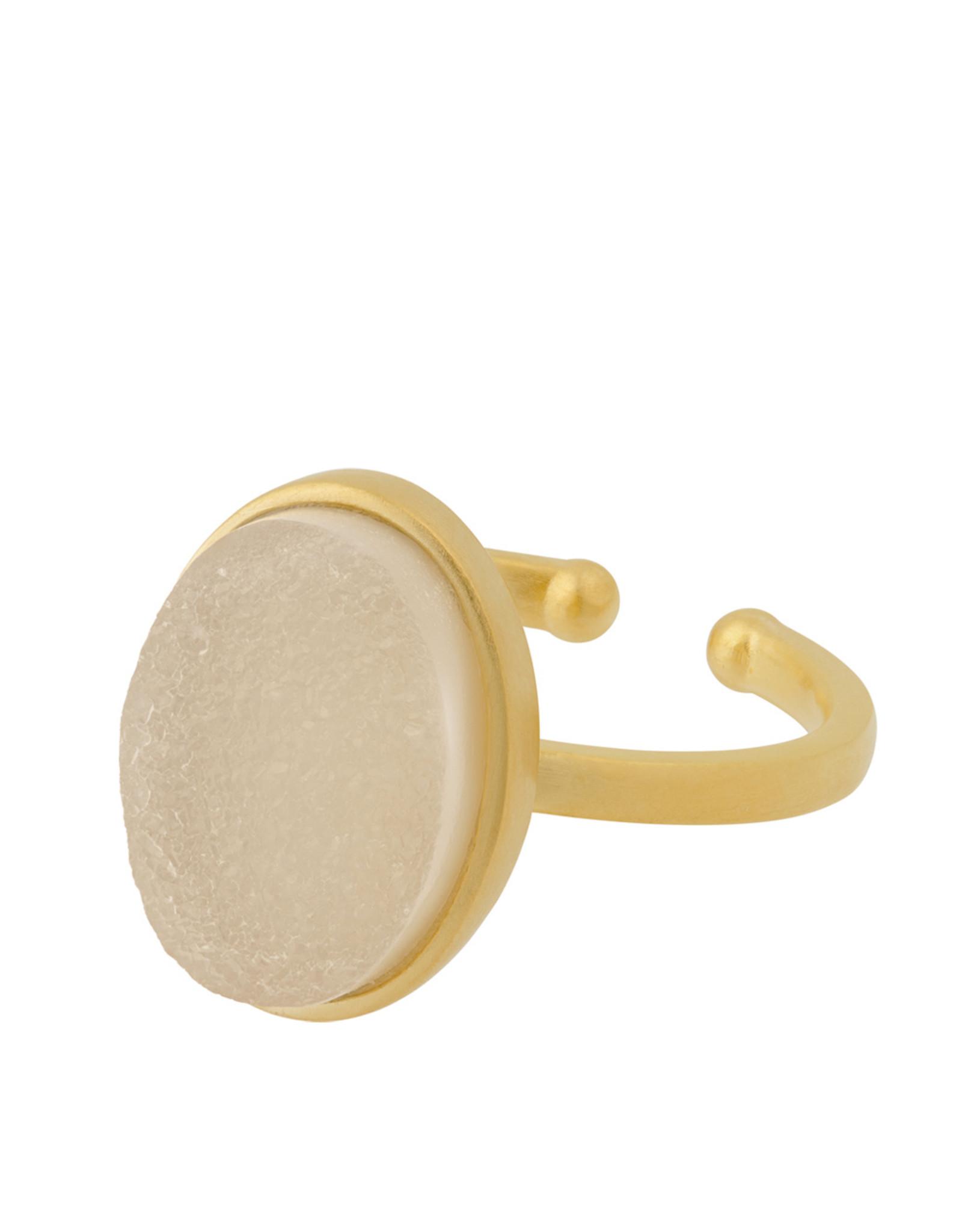 Pernille Corydon Haze Ring White Druzy oval - 52