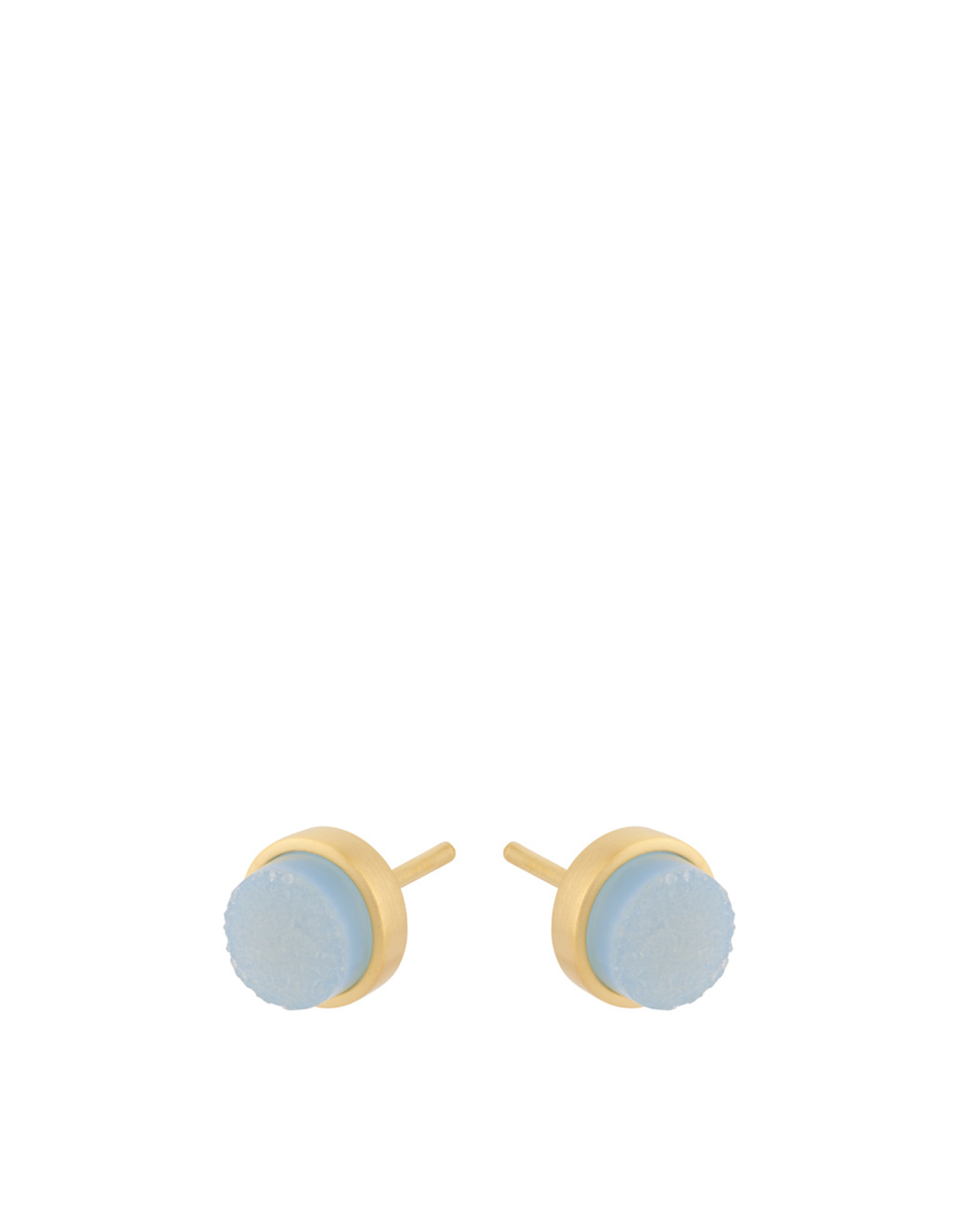 Pernille Corydon Shallow Earsticks Blue Druzy 6mm