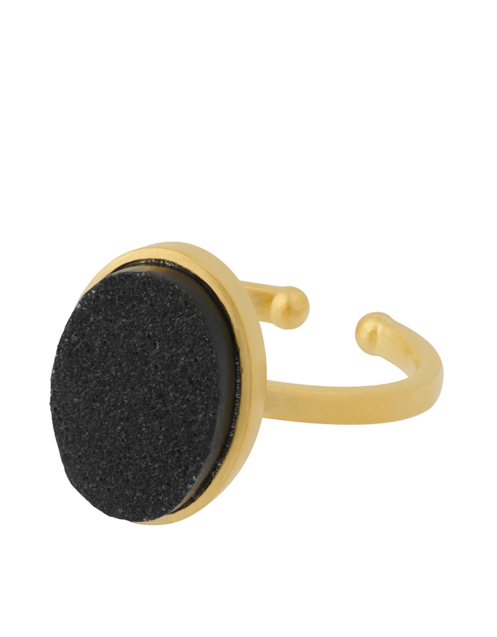 Pernille Corydon Ash Ring Black Druzy oval - 52