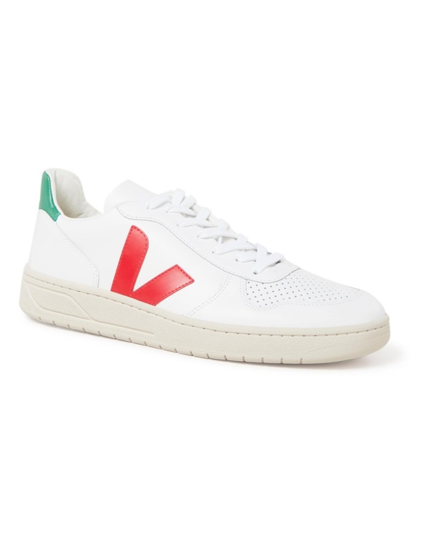 Veja V10 Leather Extra White Pekin Emeraude