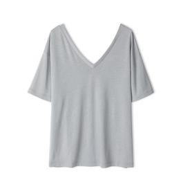 Filippa K Double V-neck Tee Silver Grey