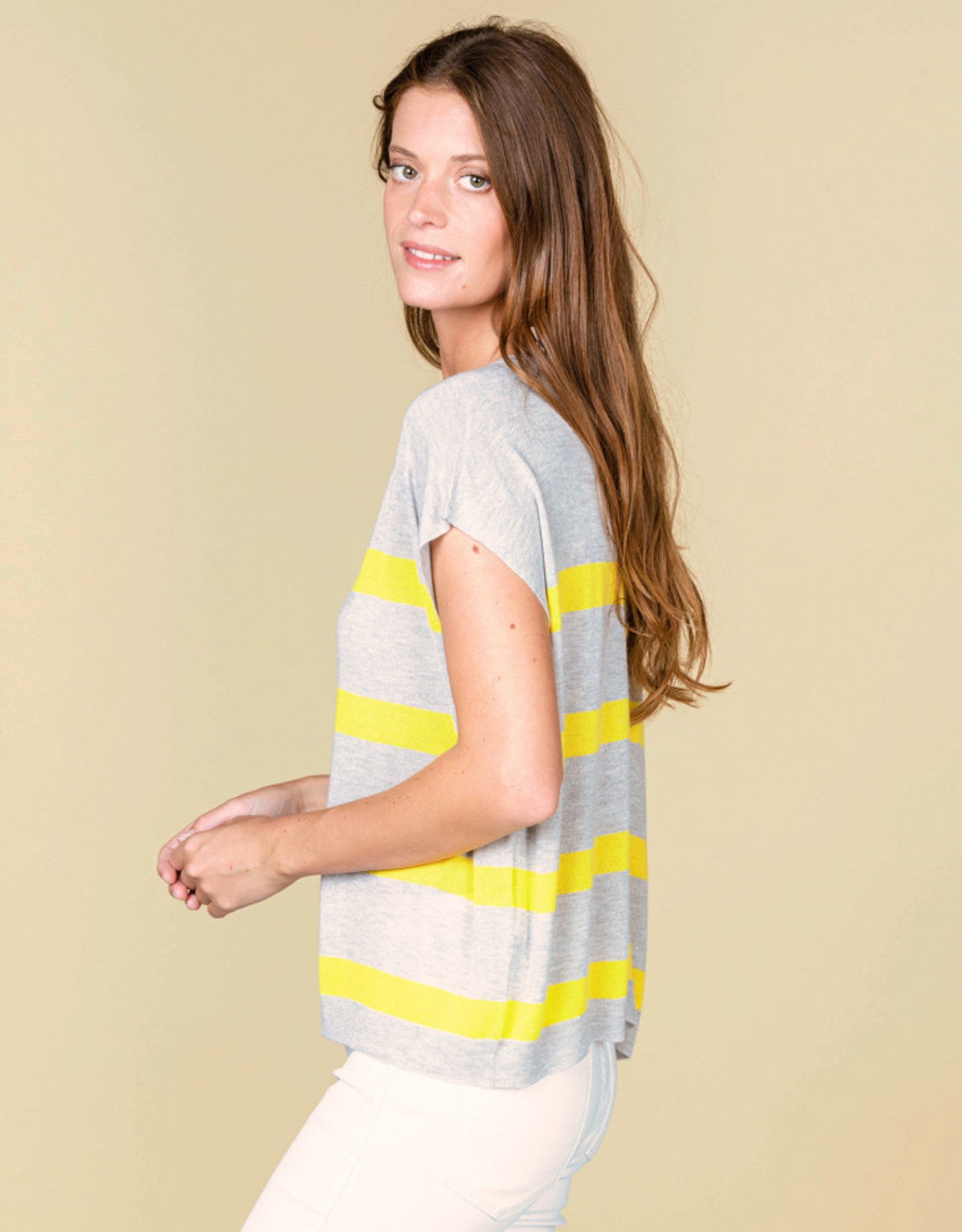 Absolut Cashmere CAPUCINE PULL C.RD MC BOUT DOS RAY BICO GRIS-STRIP-CITRON