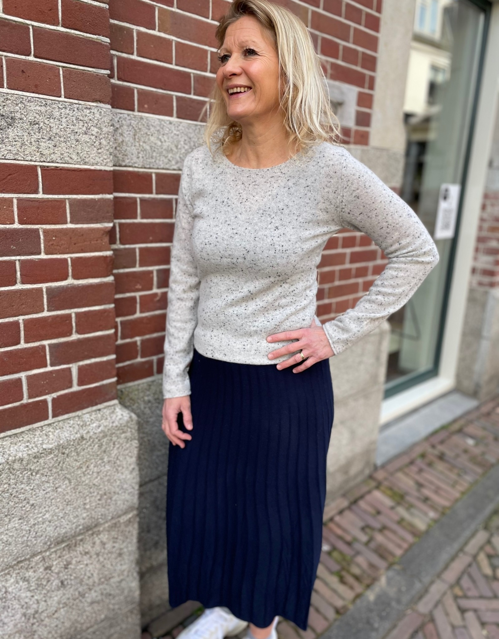 Absolut Cashmere SARAH PULL COL ROND ML FITTE GRIS MULTICO