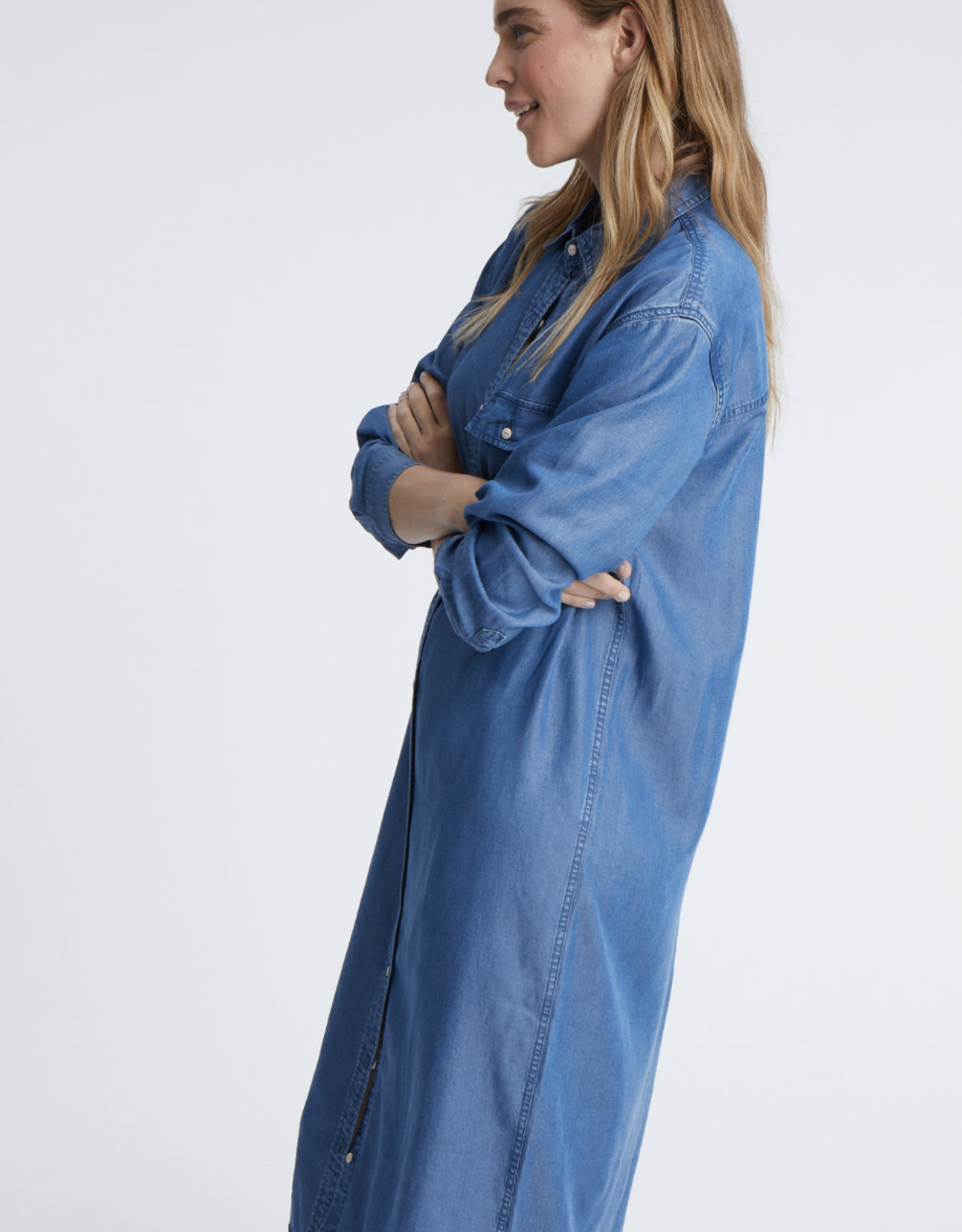 Denham LONG SHIRT DRESS BLFBT BLUE
