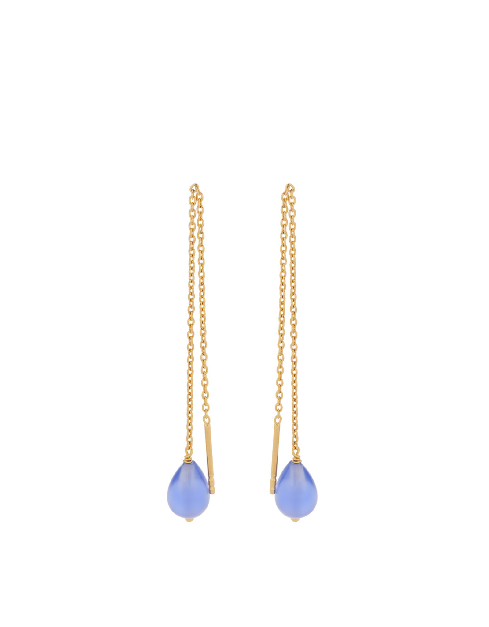 Pernille Corydon Aqua Blue Earchains 10cm, Blue Agate