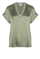 Dante6 Odette stretch silk top Sage Green
