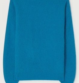 American Vintage ROZY PULL ML COL ROND TURQUOISE