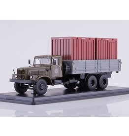 KrAZ KrAZ-257B1 FLATBED TRUCK WITH TWO CONTAINERS(khaki/grey)