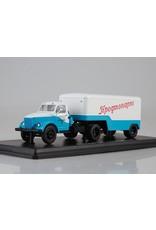 GAZ GAZ-51P tractor truck with PAZ-744 semitrailer(white/blue)