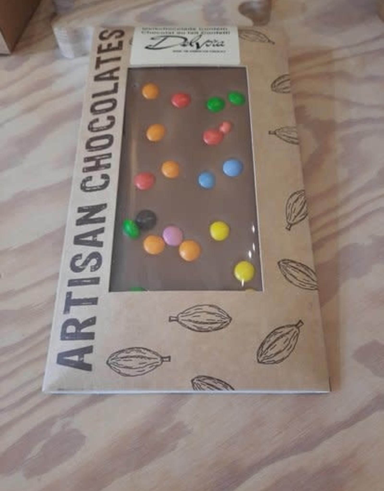 Chocolaterie Delvora Chocoladereep melk met smarties