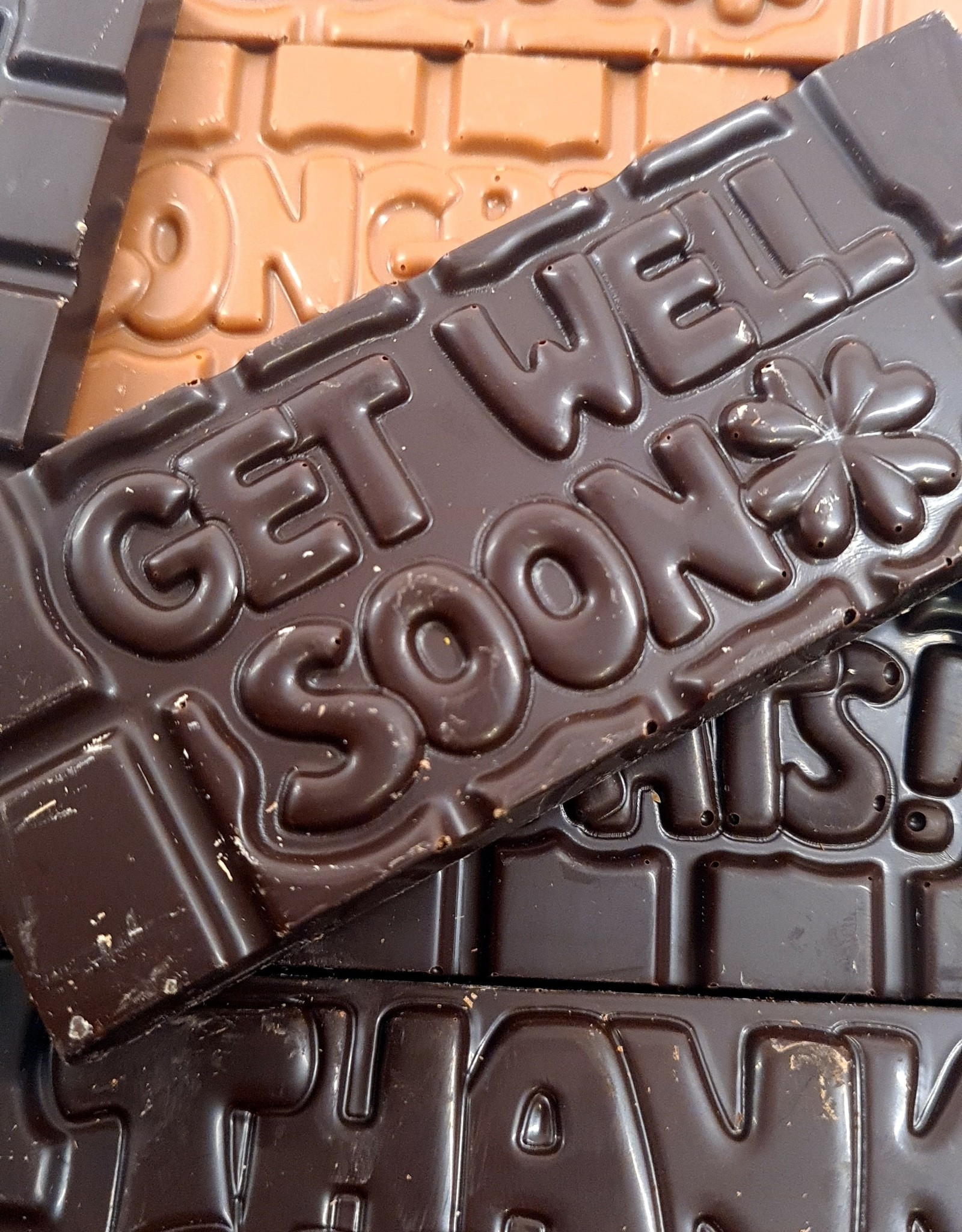 Chocolaterie Delvora Wensreep pure chocolade 'Get well soon'