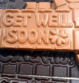 Chocolaterie Delvora Wensreep melkchocolade 'Get well soon'