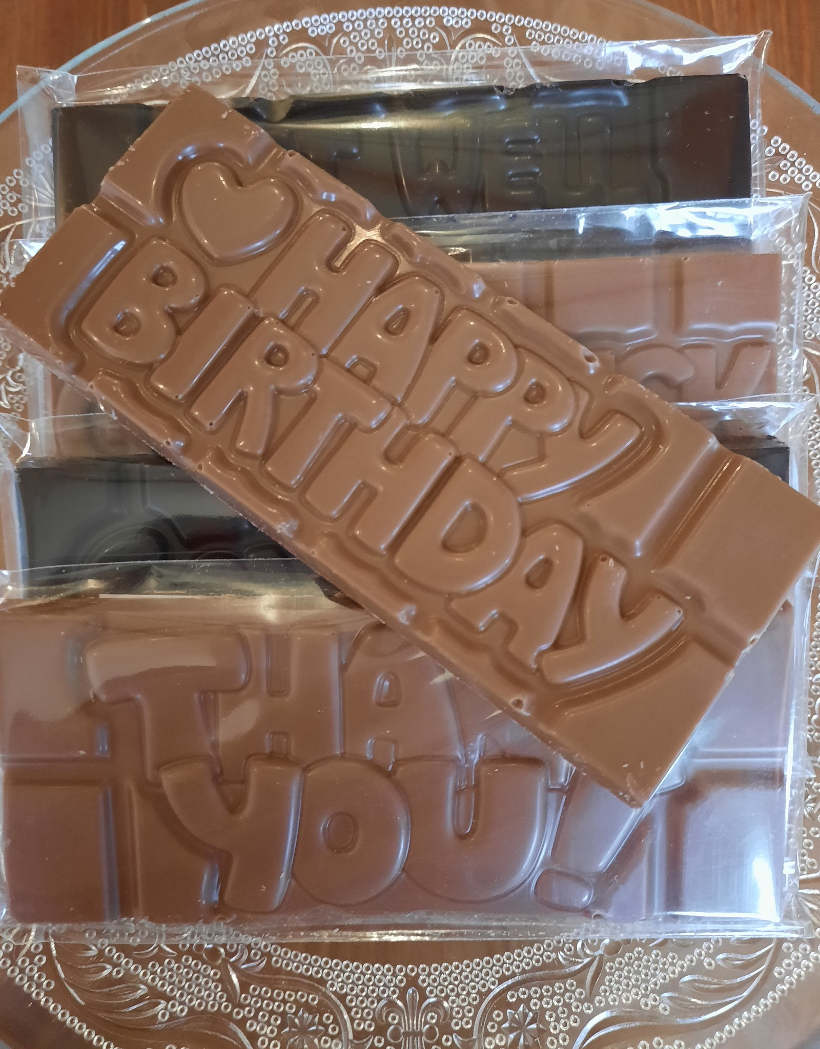 Chocolaterie Delvora Wensreep pure chocolade 'Happy birthday'