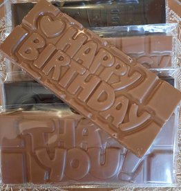 Chocolaterie Delvora Wensreep pure chocolade 'Happy birthday'