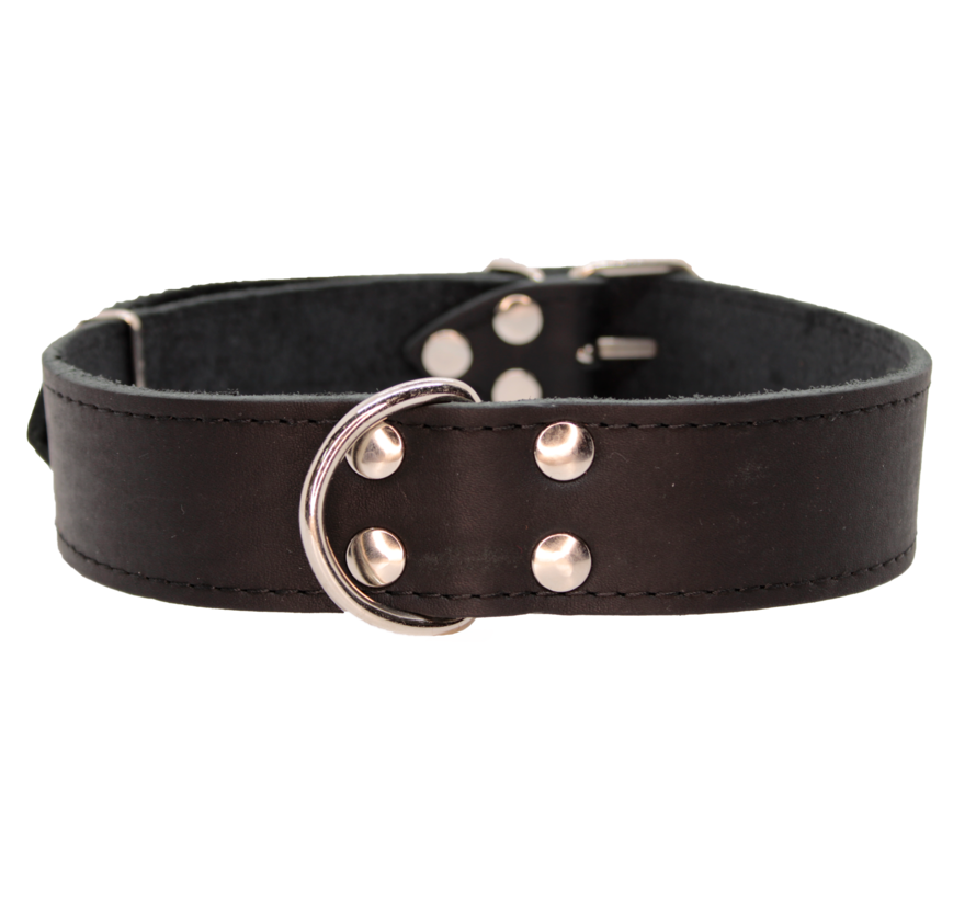 Dog collar GREASED LEATHER BLACK