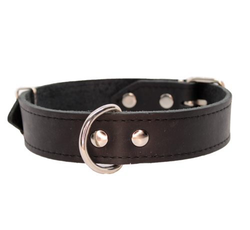HUGGLES Collier pour chien GREASED LEATHER BLACK