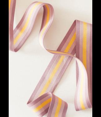 Elastiek streep - mauve/geel