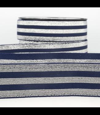 Elastiek lijnen - lurex blauw/zilver