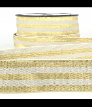 Elastiek lijnen - lurex grijs/goud